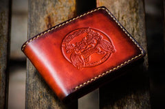 Handmade Leather Chinese Lion Tooled Mens Short Wallets Cool Leather Wallet Small Wallet for Men