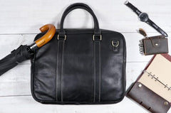 Cool Black Leather Mens Briefcase Work Bag Laptop Bag Business Bag for Men