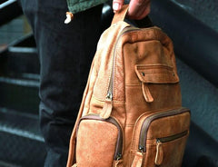 Cool Brown Mens Leather Backpack Travel Backpacks School Backpacks for men