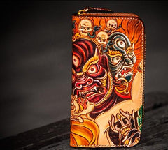 Handmade Leather Tooled Mahākāla Mens Zipper Long Wallet Cool Leather Wristlet Wallet for Men