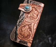 Handmade Mens Cool Tooled Long Boa Skin Floral Leather Chain Wallet Biker Trucker Wallet with Chain