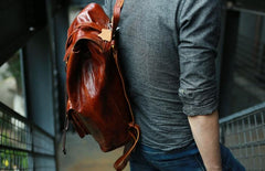 Handmade Leather Mens Backpacks Travel Backpacks Laptop Backpack for men