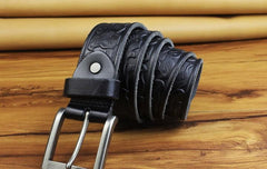 Handmade Genuine Leather Mens Leather Men Brown Black Belt for Men Cool Leather Belt