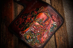 Handmade Leather Chinese Lion Mens Biker Chain Wallet Cool Long Chain Wallets for Men