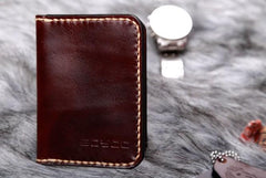 Leather Mens Slim Front Pocket Bifold Small Wallets Card Wallet for Men