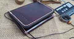 Leather Mens Front Pocket Bifold Small Wallets Card Wallet for Men