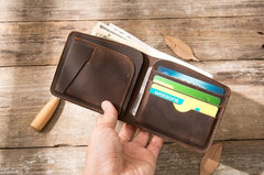 Coffee Cool Leather Mens Small Wallet Bifold Vintage Slim Short Wallet for Men