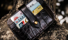 Handmade Leather Mens Cool Short Wallets Card Holders Small Card Slim Wallets for Men