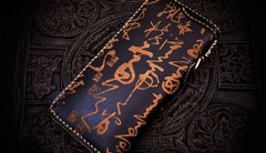 Handmade Leather Mens Chain Chinese Handwriting Biker Wallets Cool Leather Chain Wallet Long Wallets for Men
