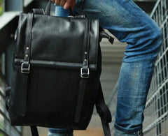 Black Leather Mens Backpack Travel Backpacks Laptop Backpack for men
