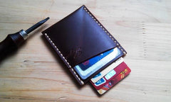 Leather Mens Slim Front Pocket Wallets Dark Brown Leather Cards Wallet for Men