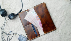 Vintage Coffee Leather Bifold Mens Long Wallet Leather Long Wallets for Men