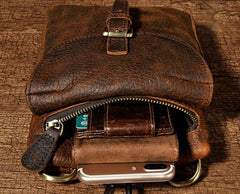 Cool Mens Leather Side Bag Belt Pouch Holster Belt Case Pack Waist Pouch for Men