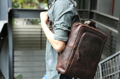 Vintage Leather Mens Backpacks Travel Backpack Laptop Backpack for men