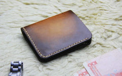 Vintage Leather Brown Mens Slim Small Wallet Leather Bifold Wallets for Men
