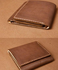 Handmade Coffee Leather Mens Small Trifold Wallet Cool Short Wallet for Men