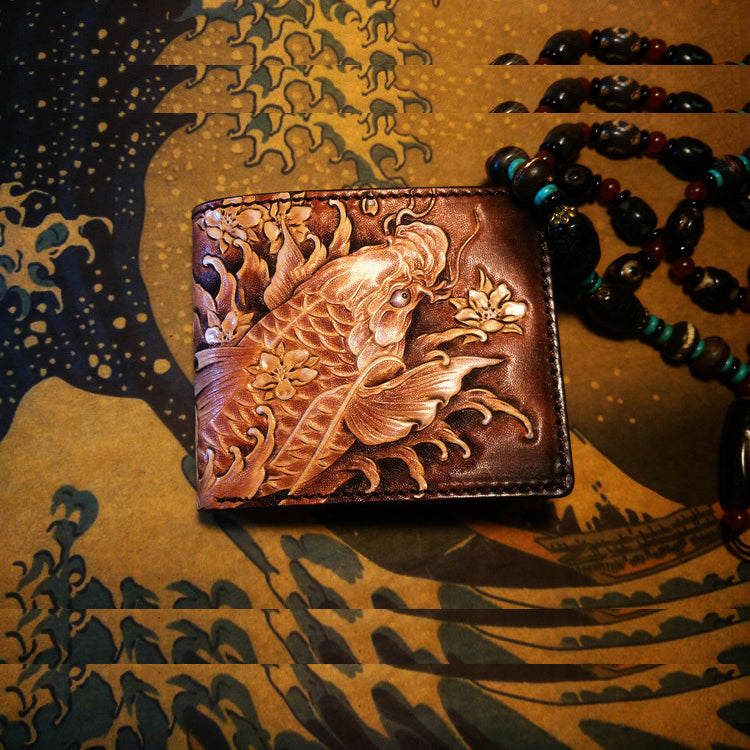 Handmade Leather Carp Fish Tooled Mens billfold Wallet Cool Leather Wallet Slim Wallet for Men