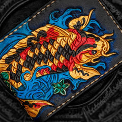 Handmade Leather License Wallet Tooled Carp Mens Short Wallet Cool Leather Wallet Slim Wallet for Men