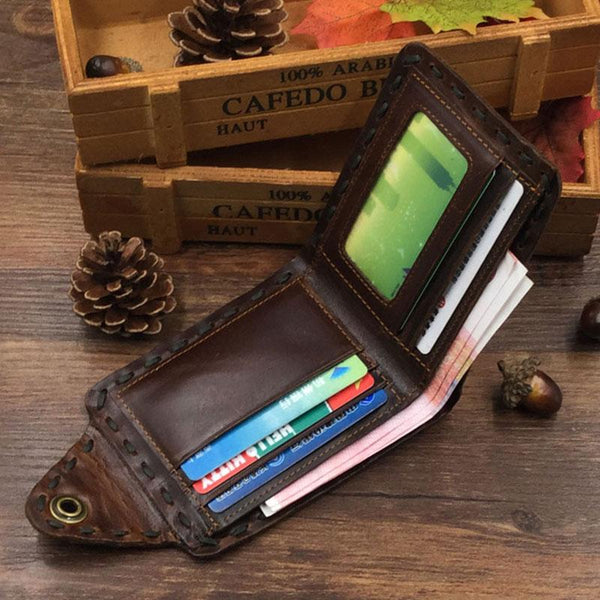 Cool Mens Leather Bifold Small Wallet Coffee billfold Wallet for Men