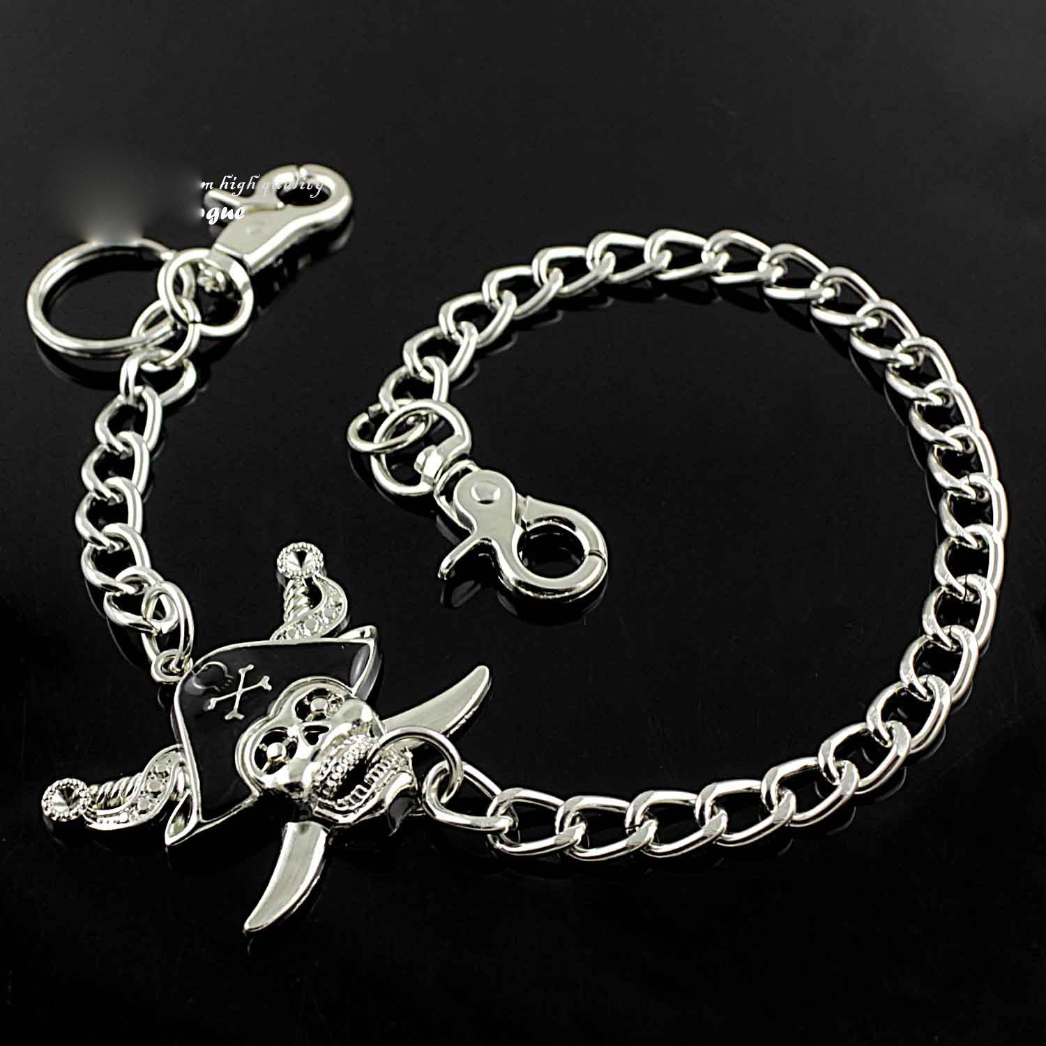 Solid Stainless Steel Pirate Skull Wallet Chain Cool Punk Rock Biker Trucker Wallet Chain Trucker Wallet Chain for Men
