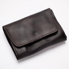 Black Handmade Leather Mens Coin Purse Small Wallet billfold Wallet Card Wallet For Men