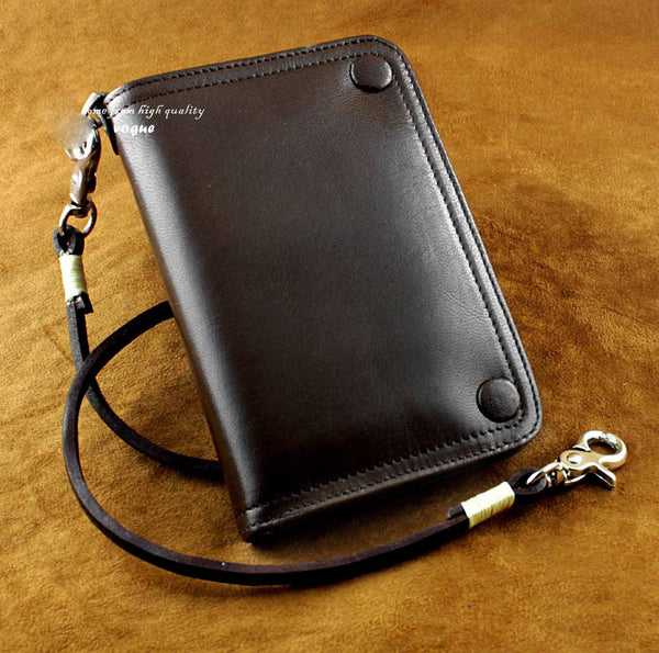 Cool Leather Men's Small Biker Chain Wallet Biker Wallet Wallet With Chain For Men