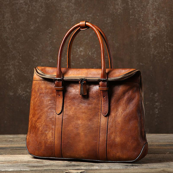 Handmade Leather Mens Vintage Brown Briefcase Work Bag Laptop Bag Business Bag for Men