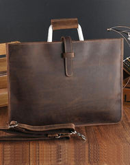 Vintage Leather Mens Slim Briefcase Work Handbag 14inch Laptop Bag For Men