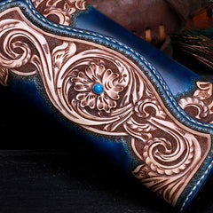 Handmade Leather Mens Tooled Floral Clutch Wallet Cool Wallet Long Wallets for Men Women
