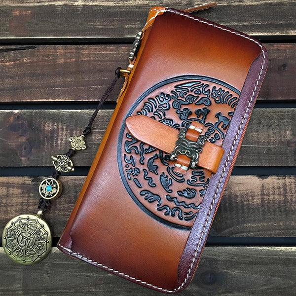 Brown Handmade Tibet Tooled Leather Long Biker Wallet Black Chain Wallet Clutch Wallet For Men