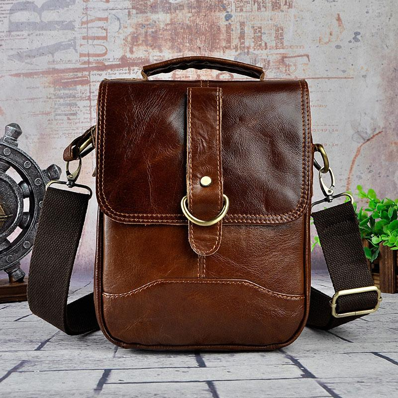 80c072c3beef Cool Vintage Leather Mens Small Side Bag Messenger Bag Shoulder Bags for Men
