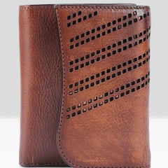 Handmade Mens Cool billfold Leather Wallet Men Small Zipper Wallets Trifold for Men