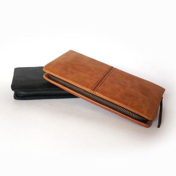 Cool Brown Mens Leather Zipper Long Wallet Phone Long Bifold Wallet for Men