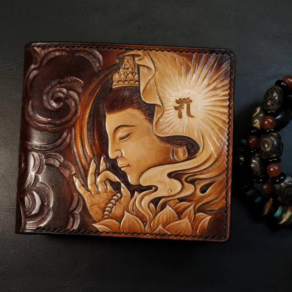 Handmade Leather Avalokitesvara Tooled Mens billfold Wallet Cool Leather Wallet Slim Wallet for Men