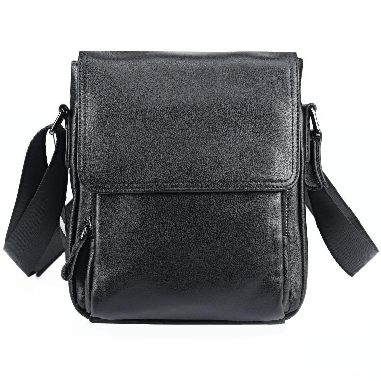 BADASS Black LEATHER MENS Small VERTICAL SHOULDER BAG SIDE BAG COURIER BAG MESSENGER BAG FOR MEN