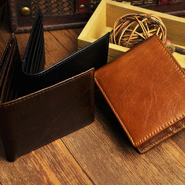 Cool Leather Mens Slim Small Wallet Slim Front Pocket Wallet for Men