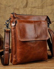 Cool Leather Mens Brown Messenger Bag Vintage Shoulder Bags For Men