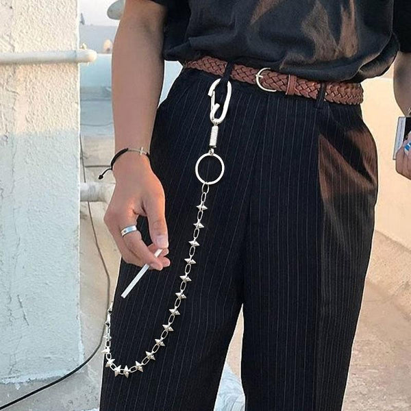 Cool Men's Spike Hip Hop Long Stainless Steel Pants Chain Biker Wallet Chain For Men