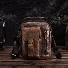 Dark Brown Leather Small Zipper Messenger Bag Vertical Side Bag Brown Courier Bag For Men