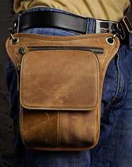 Mens Cool Leather Belt Pouch Leg Drop Bags waist BAGs Mini Shoulder Bag For Men