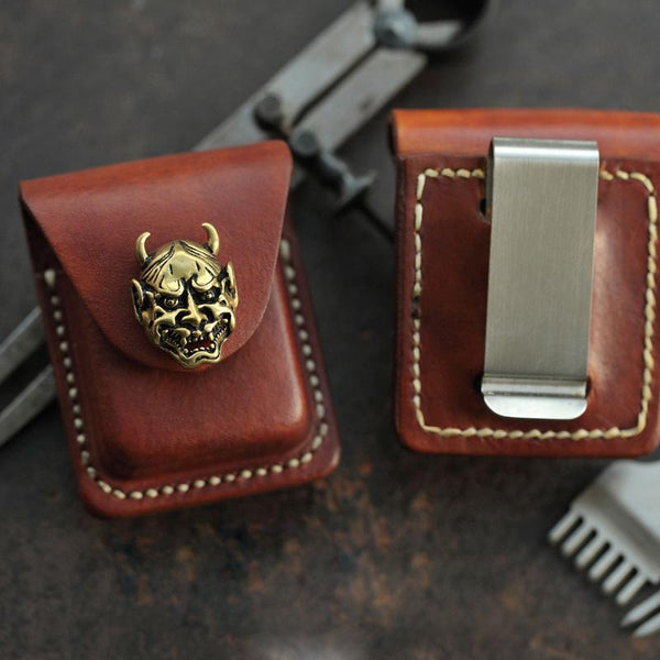 Brown Handmade Leather Mens Zippo Lighter Case With Belt Loop Coffee Zippo Standard Lighter Holders Steel Clip For Men