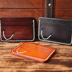 Handmade Mens Cool billfold Leather Wallet Men Small Card Slim Wallets for Men