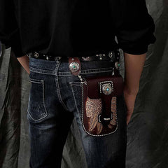 Black Badass Mens Indian Tooled Leather Waist Bag Side Bag Coffee Belt Pouch Belt Bag for Men