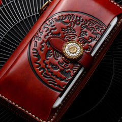 Handmade Leather Mens Long Biker Wallet Cool Leather Wallet Long Phone Wallets for Men