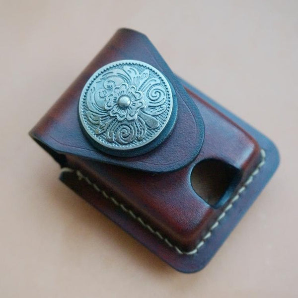 Coffee Handmade Leather Mens Armor Zippo Lighter Case Zippo Lighter Holder with Belt Loop for Men