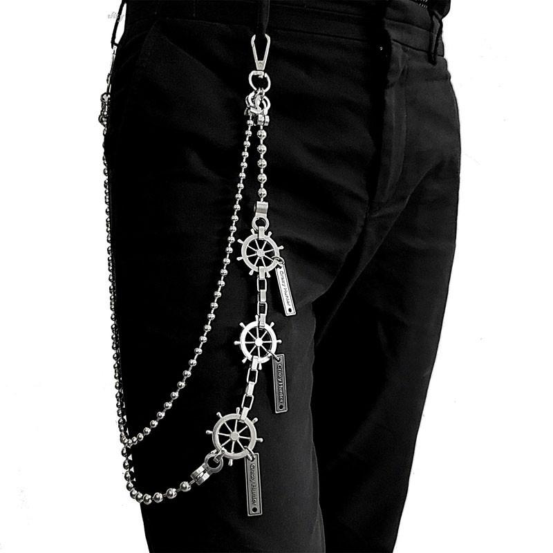 31'' Metal BIKER SILVER WALLET CHAIN Beaded LONG PANTS CHAIN ANCHOR JEAN CHAINS FOR MEN