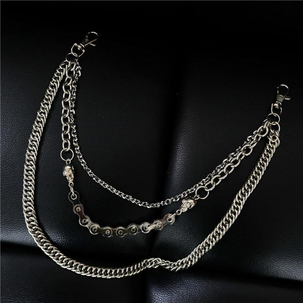 Badass Men's Punk Triple Long Wallet Chain Pants Chain Biker Wallet Chain For Men