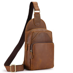Vintage Brown Leather Men's Sling Bag Chest Bag 8-inches One shoulder Backpack For Men