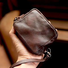 Cool Black Leather Mens Card billfold Wallet Coin Purse Wirstlet Zipper Small Wallet For Men