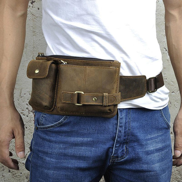 Vintage Leather Mens Fanny Pack Waist Pack Hip Pack Belt Bag for Men